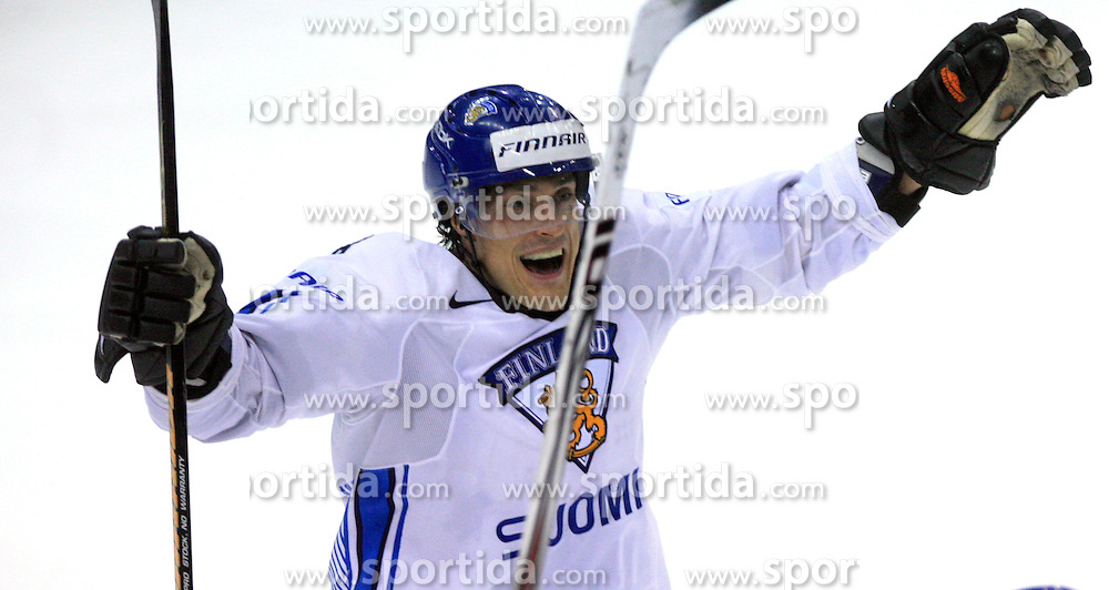 Teemu Selanne celebrates the last Finish goal at play-off round quarterfinals ice-hockey game USA  vs Finland at IIHF WC 2008 in Halifax,  on May 14, 2008 in Metro Center, Halifax, Nova Scotia,Canada. Win of Finland 3 : 2. (Photo by Vid Ponikvar / Sportal Images)