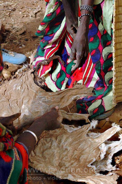 BURKINA FASO, Gorom-Gorom, 2007. Fulani women negotiate the price of goatskins, a prized commodity at Gorom-Gorom's Thursday market.