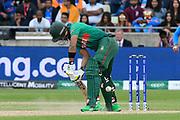 Sabbir Rahman of Bangladesh digs out a yorker bowled by Bhuvneshwar Kumar of India during the ICC Cricket World Cup 2019 match between Bangladesh and India at Edgbaston, Birmingham, United Kingdom on 2 July 2019.