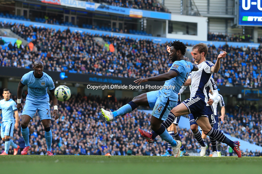 21st March 2015 - Barclays Premier League - Manchester City v West Bromwich Albion - Wilfried Bony of Man City scores their 1st goal - Photo: Simon Stacpoole / Offside.
