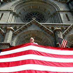 Prior to the Fortnight for Freedom Mass July 2 at the Cathedral Basilica of St. Louis, The Life Runners and others publicly proclaimed their support for religious freedom. From left to right are Jeff Pauls of St. Alban Roe Parish, Rob Schultz of Incarnate Word Parish and Chris Maritz of University City Family Church.