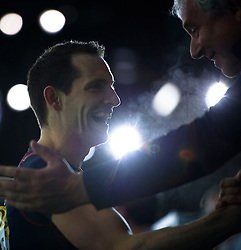 Renaud Lavillenie (L) of France celebrates with his coach during the men's Pole Vault competition at the 2016 IAAF World Indoor Athletics Championships at the Oregon Convention Center in Portland, the United States, on March 17, 2016. Renaud Lavillenie won the champion with 6.02 meters. EXPA Pictures © 2016, PhotoCredit: EXPA/ Photoshot/ Yang Lei from Chongqing<br /> <br /> *****ATTENTION - for AUT, SLO, CRO, SRB, BIH, MAZ, SUI only*****