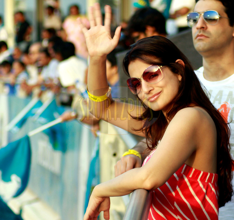 Actor Ameesha Patel during match 52 of the the Indian Premier League ( IPL) 2012  between The Pune Warriors India and the Rajasthan Royals held at the Subrata Roy Sahara Stadium, Pune on the 8th May 2012..Photo by Sandeep Shetty/IPL/SPORTZPICS