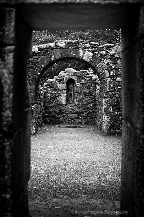 An archway to ruins of an Ancient Church in Glendalough