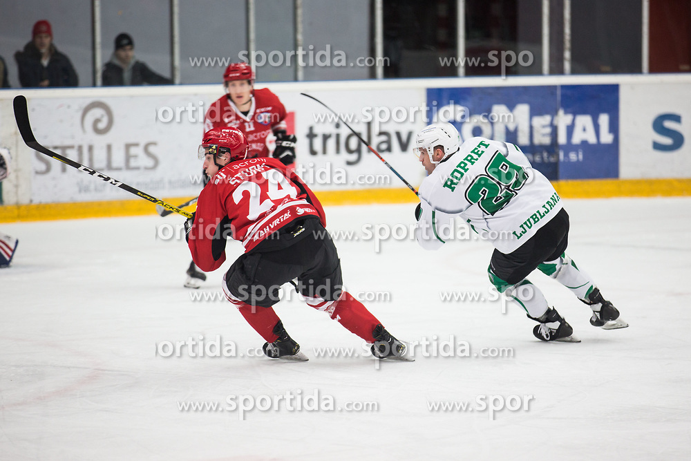 STURM Jaka of HDD SIJ Jesenice vs ROPRET Anze of HK SZ Olimpija  during Alps League Ice Hockey match between HDD SIJ Jesenice and HK SZ Olimpija on December 20, 2019 in Ice Arena Podmezakla, Jesenice, Slovenia. Photo by Peter Podobnik / Sportida