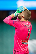 SYDNEY, AUSTRALIA - APRIL 06: Sydney FC goalkeeper Andrew Redmayne (1) disappointed after a goal was missed at round 24 of the Hyundai A-League Soccer between Sydney FC and Melbourne Victory on April 06, 2019, at The Sydney Cricket Ground in Sydney, Australia. (Photo by Speed Media/Icon Sportswire)