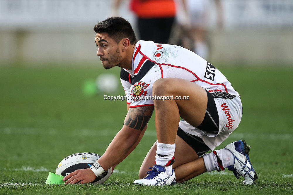 Warriors' Shaun Johnson lines up a conversion during the NRL rugby league match - Bulldogs v Warriors played at Waikato Stadium, Hamilton on Sunday 18 May 2014.  Photo:  Bruce Lim / www.photosport.co.nz
