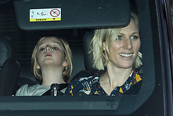 © Licensed to London News Pictures. 18/12/2019. London, UK. MIA TINDALL with her mother ZARA PHILIPS. Members of the Royal Family seen leaving Buckingham Palace in West London after attending the Queen's annual Christmas lunch. Photo credit: Ben Cawthra/LNP