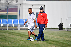 June 17, 2018 - Sochi, RUSSIA - Panama's head coach Hernan Gomez (R) pictured during a training session of the Panama national soccer team in Sochi, Russia, Sunday 17 June 2018. The team is preparing for their first game at the FIFA World Cup 2018 against Belgian national soccer team the Red Devils tomorrow. BELGA PHOTO DIRK WAEM (Credit Image: © Dirk Waem/Belga via ZUMA Press)