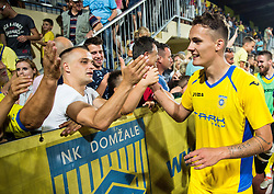 21.07.2016, Sports Park, Domzale, SLO, UEFA EL, NK Domzale vs Shakhtar Donetsk, Qualifikation, 2. Runde, Rueckspiel, im Bild Jure Balkovec of NK Domzale celebrates with fans after winning // during the UEFA Europaleague Qualifier 2nd round, 2nd leg match between Grasshopper Club and KR Reykjavik at the Sports Park in Domzale, Slovenia on 2016/07/21. EXPA Pictures © 2016, PhotoCredit: EXPA/ Sportida/ Vid Ponikvar<br /> <br /> *****ATTENTION - OUT of SLO, FRA*****