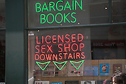 Neon signs for Licensed Sex Shop and Bargain books, London, England