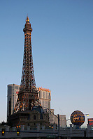 Replica Eifel Tower on Las Vegas Boulevard, Las Vegas, Nevada. Also known as The Las Vegas Strip where many of the famous themed casinos and hotels are located.