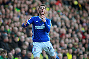 Ipswich Town forward Joe Garner (14) shows his frustration during the EFL Sky Bet Championship match between Norwich City and Ipswich Town at Carrow Road, Norwich, England on 18 February 2018. Picture by Nigel Cole.