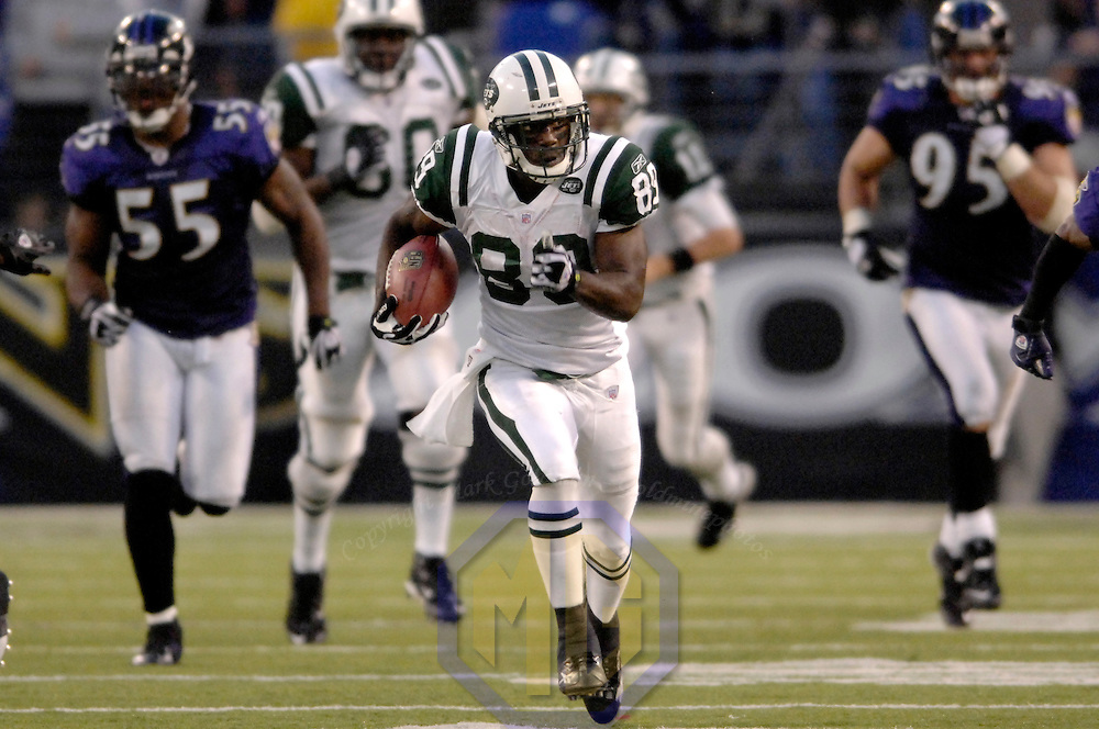 16 September 2007:  New York Jets wide receiver Jerricho Cotchery (89) catches a pass from quarterback Kellen Clemens (11) for a 50-yard gain late in the 4th quarter against the Baltimore Ravens.  The Ravens defeated the Jets 20-13 at M&T Bank Stadium in Baltimore, Md. .