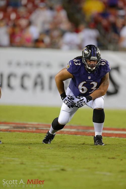 Baltimore Ravens tackle Joe Unga (63) during a preseason NFL game at Raymond James Stadium on Aug. 8, 2013 in Tampa, Florida. <br /> <br /> &copy;2013 Scott A. Miller