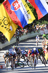 July 4, 2017 - Vittel, FRANCE - Norway Alexander Kristoff of Team Katusha Alpecin, Slovakian Peter Sagan of Bora - Hansgrohe and French Arnaud Demare of FDJ sprint while Great Britain's Ben Swift of UAE Team Emirates falls at the fourth stage of the 104th edition of the Tour de France cycling race, 207,5 km from Mondorf-les-Bains, Luxembourg, to Vittel, France, Tuesday 04 July 2017. This year's Tour de France takes place from July first to July 23rd. BELGA PHOTO DIRK WAEM (Credit Image: © Dirk Waem/Belga via ZUMA Press)