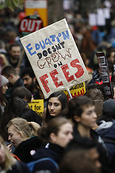 © Licensed to London News Pictures. 19/11/2016. London, UK. Students protest over access and quality of higher education in central London on 19 November 2016. 'United for Education' demonstration has been organised by the NUS and the University and College Union (UCU), calling for free, accessible and quality further and higher education across the UK as students and education staff march from Park Lane to Millbank. Photo credit: Tolga Akmen/LNP