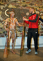 ADELAIDE, AUSTRALIA - Sunday, July 19, 2015: Liverpool's captain Jordan Henderson plays a didgeridoo with an Karl Winda Telfer from Adelaide Kaurna Aboriginal community dance group Paitya during a visit to the Art Gallery of South Australia ahead of a preseason friendly match against Adelaide United on day seven of the club's preseason tour. (Pic by David Rawcliffe/Propaganda)