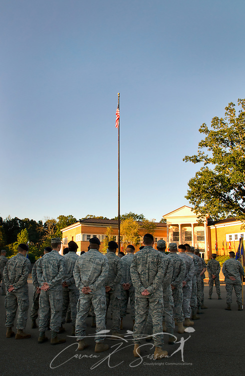 Members of the Columbus Air Force Base 14th Flying Training Wing stand in formation Friday during a morning reveille commemorating the Sept. 11, 2001 attacks. (Photo by Carmen K. Sisson/Cloudybright)