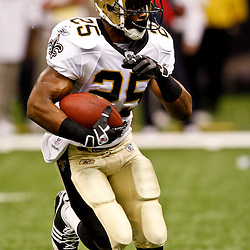 August 21, 2010; New Orleans, LA, USA; New Orleans Saints running back Reggie Bush (25) runs during the first quarter of a preseason game at the Louisiana Superdome. Mandatory Credit: Derick E. Hingle