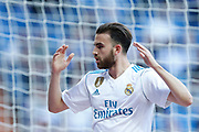 Real Madrid's Spanish forward Borja Mayoral reacts during the Spanish championship Liga football match between Real Madrid CF and RC Deportivo on January 21, 2018 at Santiago Bernabeu stadium in Madrid, Spain - Photo Benjamin Cremel / ProSportsImages / DPPI