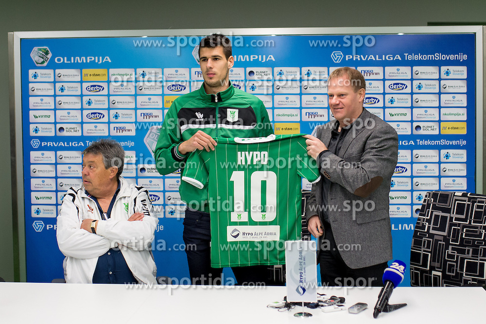Nemanja Mitrovic and Tomaz Krajncic at press conference of NK Olimpije before second part of Slovenian league on February 28, 2014 in SRC Stozice, Ljubljana, Slovenia. Photo by Matic Klansek Velej / Sportida