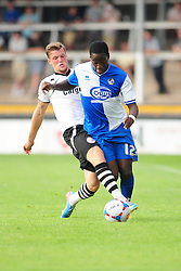 Bristol Rovers' Snaquille Hunter is challenged by Hereford United's Josh O'Keefe - Photo mandatory by-line: Dougie Allward/JMP - Tel: Mobile: 07966 386802 16/07/2013 - SPORT - FOOTBALL - Bristol -  Hereford United V Bristol Rovers - Pre Season Friendly