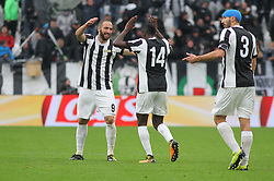 November 5, 2017 - Turin, Italy - Gonzalo Higuain (Juventus FC) celebrates after scoring during the Serie A football match between Juventus FC and Benevento Calcio on 05 November 2017 at Allianz Stadium in Turin, Italy. Juventus win 2-1 over Benevento. (Credit Image: © Massimiliano Ferraro/NurPhoto via ZUMA Press)