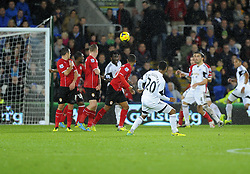 Swansea City's Jonathan de Guzmansees his free kick saved by Cardiff City's David Marshall - Photo mandatory by-line: Joe Meredith/JMP - Tel: Mobile: 07966 386802 03/11/2013 - SPORT - FOOTBALL - The Cardiff City Stadium - Cardiff - Cardiff City v Swansea City - Barclays Premier League