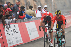 March 1, 2019 - Ajman, United Arab Emirates - The Red Jersey, Primoz Roglic (Right) of Slovenia and Team Jumbo - Visma, wins the sixth Rak Properties Stage of UAE Tour 2019, ahead of Tom Dumoulin (Sunweb Team), a 180km with a start from Ajman and finish in Jebel Jais. .On Friday, March 1, 2019, in Jebel Jais, Ras Al Khaimah Emirate, United Arab Emirates. (Credit Image: © Artur Widak/NurPhoto via ZUMA Press)