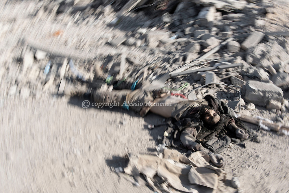 Libya, Sirte: Dead body of an ISIS fighter killed in Al Jiza neighbourhood by Libyan forces affiliated to the Tripoli government. Alessio Romenzi