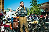 PRICE CHAMBERS / NEWS&amp;GUIDE<br /> Like he just stepped off the set of &quot;The Wild One,&quot; Sean Duggan cuts a striking figure at the 49er Inn on Monday as he and a group of antique motorcycle riders stop for the evening during their cross-country ride called the Pre-1930 Motorcycle Cannonball. Duggan and his 1928 Harley Davidson JD join a pack of 50 dedicated riders in a two-week endurance run across the country from Newburgh, New York to San Francisco, Calif. &quot;I think a lot of the riders on this thing, they enjoy maintaining them as much as they like riding them,&quot; Duggan said. &quot;This is  a special group.&quot;