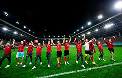 Players of Austria celebrate after winning during the 2020 UEFA European Championships group G qualifying match between Slovenia and Austria at SRC Stozice on October 13, 2019 in Ljubljana, Slovenia. Photo by Vid Ponikvar / Sportida