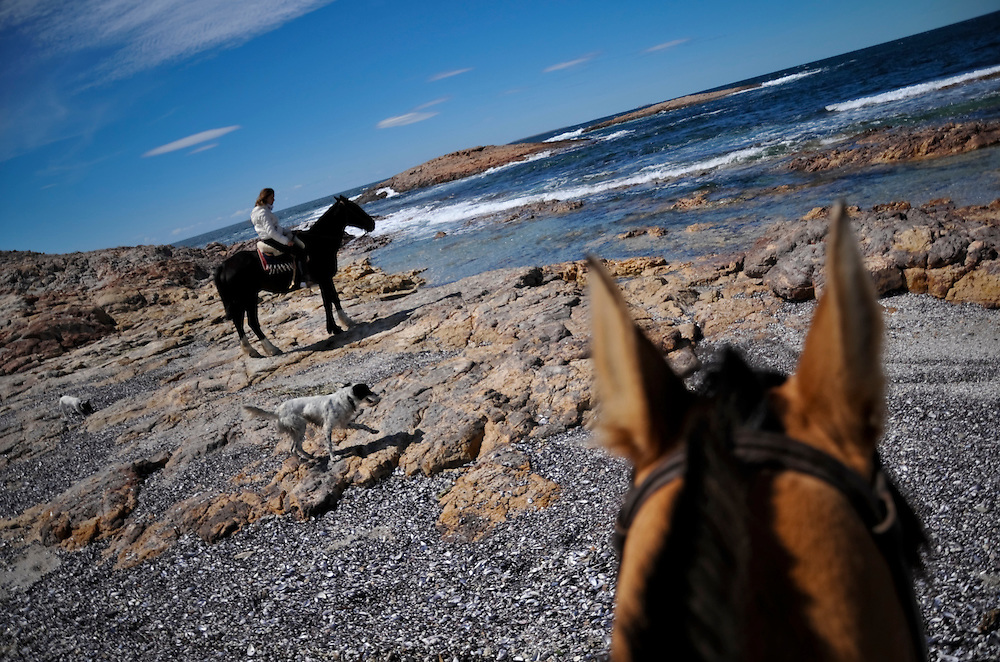 """Dolores Pouiller, 15, rides a horse on the beach during her summer holiday from her high school in Buenos Aires. Pouiller's great-grandfather,  Lorenzo Soriano arrived on this shore in 1952 in search of seaweed. Her family drove 17 hours to visit their family and vacation at Bahia Bustamante for a week. """"It is like we have our own piece of paradise,"""" Dolores' mother, Soledad Soriano, 51, a history teacher, said. Bahia Bustamante is run by Mrs. Soriano's cousin, Matias Soriano, 41. The Soriano family opened their private farm up to a few dozen tourists per year, and only accept a maximum of 18 at a time."""