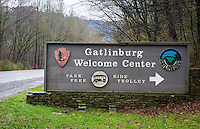 Sign on the entrance to the Gatlinburg welcome center in the Great Smoky Mountains National Park