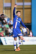 Gillingham midfielder Jake Hessenthaler scores (2-2) during the Sky Bet League 1 match between Gillingham and Shrewsbury Town at the MEMS Priestfield Stadium, Gillingham, England on 23 April 2016. Photo by Martin Cole.
