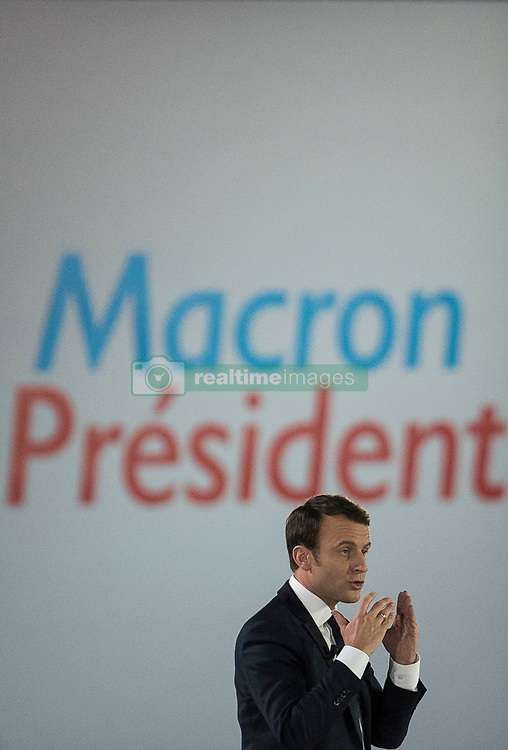 Presidential Candidate Emmanuel Macron addresses voters during a political meeting at Paris Event Center on May 1, 2017 in Paris, France. Emmanuel Macron faces President of the National Front, Marine Le Pen in the final round of the French presidential elections on May 07. Photo by Eliot Blondet/ABACAPRESS.COM