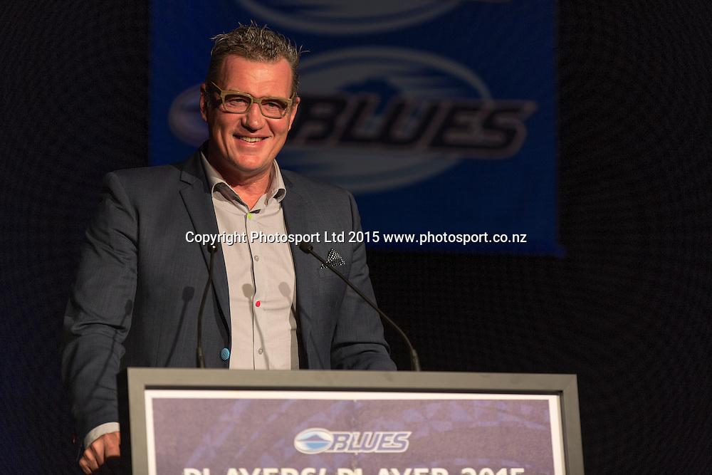 Sir John Kirwan addresses the audience at the Blues Super Rugby awards evening. Skycity, Auckland. 13 June 2015. Copyright Photo: David MacKay / www.photosport.co.nz