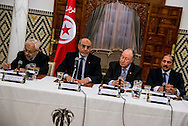 © Benjamin Girette / IP3 PRESS : February 15th, 2013: Tunisian Prime Minister Hamadi Jebali (2nd from left) delivers his speech in Carthage, outside Tunis, at the opening of a meeting with representatives of all political parties to see if there is sufficient support for his solution to end the country's ongoing political crisis, with Ennahda party leader Rached El Ghannouchi, first left, and constituent assembly president Mustapha Ben Jaafer (2nd from right). Jebali is expected to announce the results of his political initiative to form a new working government on upcoming monday, and has announced that he will step down if his initiative is not accepted.
