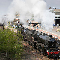 The Great Britain X steam train tour of the UK pictured at Perth railway station this afternoon where locomotives where changed over before heading south to Glasgow. The engines being used are LMS Classs 5MT 4-6-0 no 45212 and LNER K1 Class 2-6-0 no 62005<br />