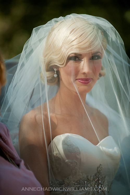 A bride heads to her wedding at the Emmanuel Church in Coloma, California.  The reception was held nearby at the Coloma Country Inn.
