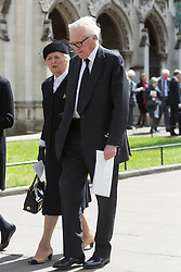 © Licensed to London News Pictures. 03/05/2016. LONDON, UK.  MICHAEL HESELTINE leaving a service of Thanksgiving for the life and work of former Chancellor of the Exchequer, Rt Hon The Lord Geoffrey Howe of Aberavon CH PC QC at St Margaret's Church, Westminster Abbey.  Photo credit: Vickie Flores/LNP