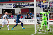 14th September 2019; Dens Park, Dundee, Scotland; Scottish Championship, Dundee Football Club versus Alloa Athletic; A header from Declan McDaid of Dundee crashes off the crossbar