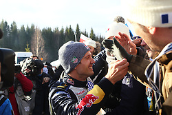 15.02.2015,  Karlstad, SWE, FIA, WRC, Schweden Rallye, im Bild Sebastien Ogier (Volkswagen Motorsport/Polo R WRC) feiert mit Franzoesichen Fans // during the WRC Sweden Rallye at the Karlstad in Karlstad, Sweden on 2015/02/15. EXPA Pictures © 2015, PhotoCredit: EXPA/ Eibner-Pressefoto/ Bermel<br /> <br /> *****ATTENTION - OUT of GER*****