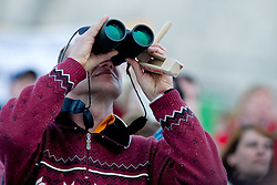 Fan with binoculars during Flying Hill Individual at 2nd day of FIS Ski Jumping World Cup Finals Planica 2012, on March 16, 2012, Planica, Slovenia. (Photo by Matic Klansek Velej / Sportida.com)