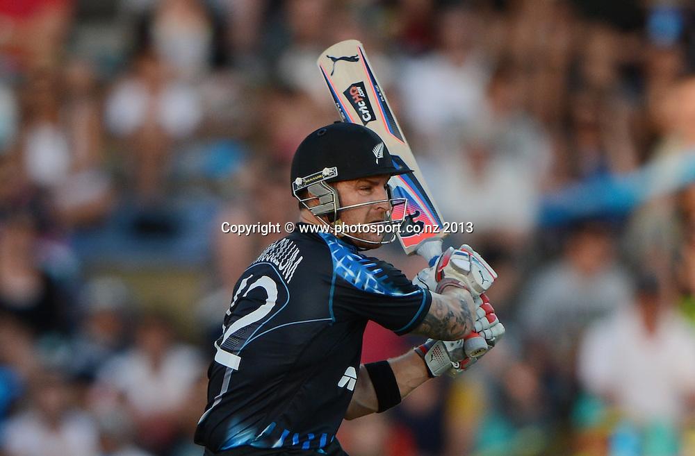 Brendon McCullum batting. ANZ T20 Series. 2nd Twenty20 Cricket International. New Zealand Black Caps versus England at Seddon Park, Hamilton, New Zealand. Tuesday 12 February 2013. Photo: Andrew Cornaga/Photosport.co.nz
