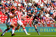 Leeds United forward Patrick Bamford (9)  during the EFL Sky Bet Championship match between Stoke City and Leeds United at the Bet365 Stadium, Stoke-on-Trent, England on 24 August 2019.
