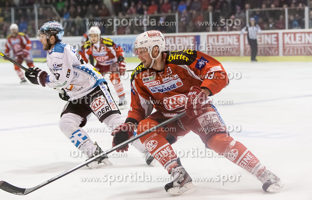 24.03.2013, Stadthalle, Klagenfurt, AUT, EBEL, EC KAC vs EHC Liwest Black Wings Linz, Playoff Halbfinale, 6. Spiel, im Bild Mike Siklenka (Kac, #23), Mike Siklenka (Kac, #23) // during the Erste Bank Icehockey League playoff semifinal 6th match between EC KAC and EHC Liwest Black Wings Linz at the City Hall, Klagenfurt, Austria on 2013/03/14. EXPA Pictures © 2013, PhotoCredit: EXPA/ Mag. Gert Steinthaler