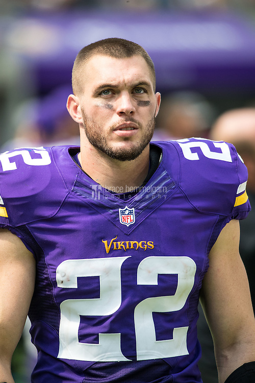 Aug 28, 2016; Minneapolis, MN, USA; Minnesota Vikings safety Harrison Smith (22) during a preseason game against the San Diego Chargers at U.S. Bank Stadium. The Vikings defeated the Chargers 23-10. Mandatory Credit: Brace Hemmelgarn-USA TODAY Sports