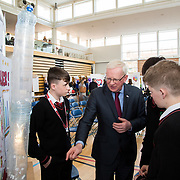 27.04. 2017.          <br /> Pictured at the Limerick Institute of Technology (LIT) SciFest were, Prof. Vincent Cunnane, President LIT with St. Halewood College Dromcollogher Students, Sean O'Connor, David Noonan and Jamie Hennessy with their project Poo Power. Picture: Alan Place.